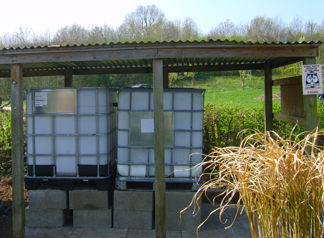 Installed IBCs in Readiness for Rainwater Catchment