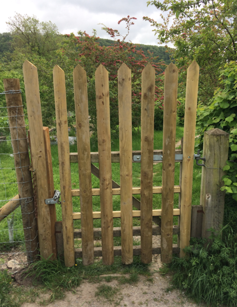 A photograph of the extension to the gate at the north east corner of the Craven Arms Community GardenArms